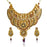Mithya Gold Plated Maroon And Green Stone Necklace Set