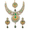 Mithya Gold Plated Stone And Meenakari Necklace Set With Maang Tikka