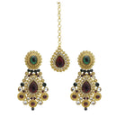 Kriaa Stone Gold Plated Dangler Earrings With Maang Tikka