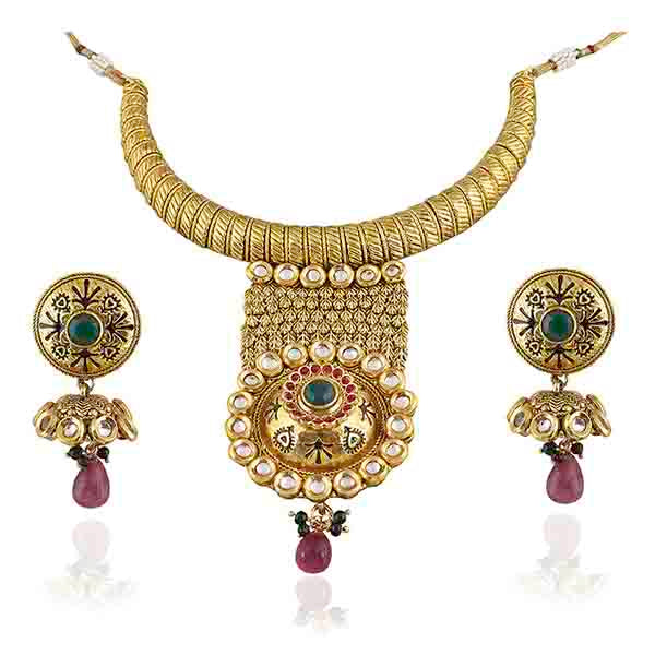 Vivaah Kundan Pota Stone Gold Plated Necklace Set