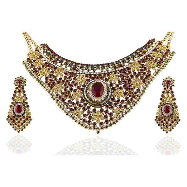 Vivaah Austrian Stone Gold Plated Necklace Set