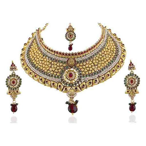 Vivaah Gold Plated Stone Necklace Set With Maang Tikka