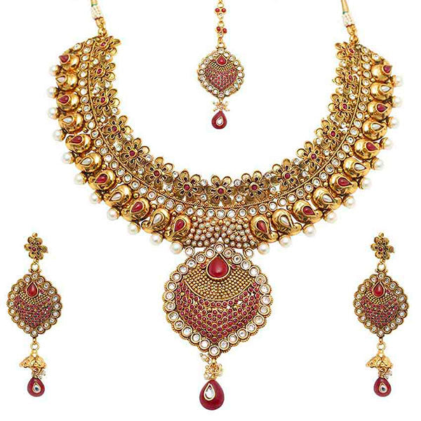 Vivaah Maroon Stone Gold Plated Necklace Sets With Maang Tikka