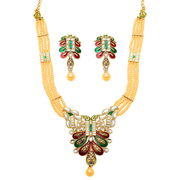 Aurum Gold Plated Maroon Meenakari And Stone Necklace Set