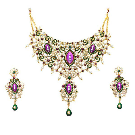 Aurum Gold Plated Purple Austrian Stone Necklace Set