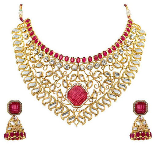 Aurum Gold Plated Kundan Austrian Stone Necklace Set - 2000513