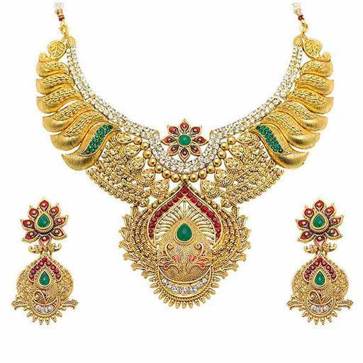 Aurum Gold Plated Meenakari Austrian Stone Necklace Set