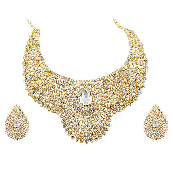 Aurum Gold Plated Austrian Stone Traditional Necklace Set