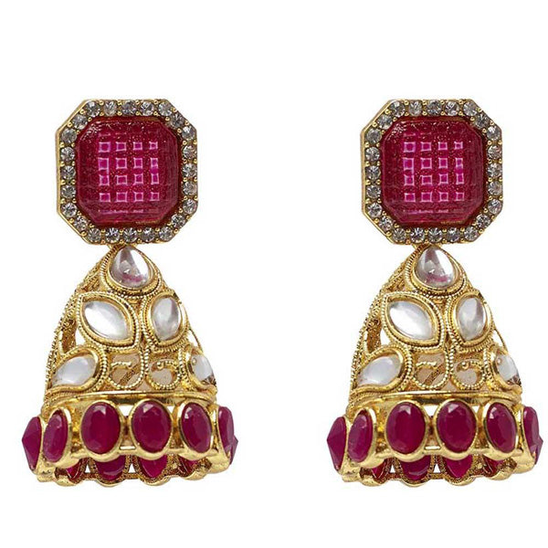 Kriaa Kundan Stone Gold Plated Jhumki Earrings