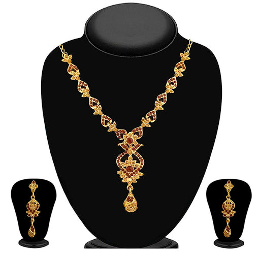 Soha Fashion Brown Austrian Stone Gold Plated Necklace Set