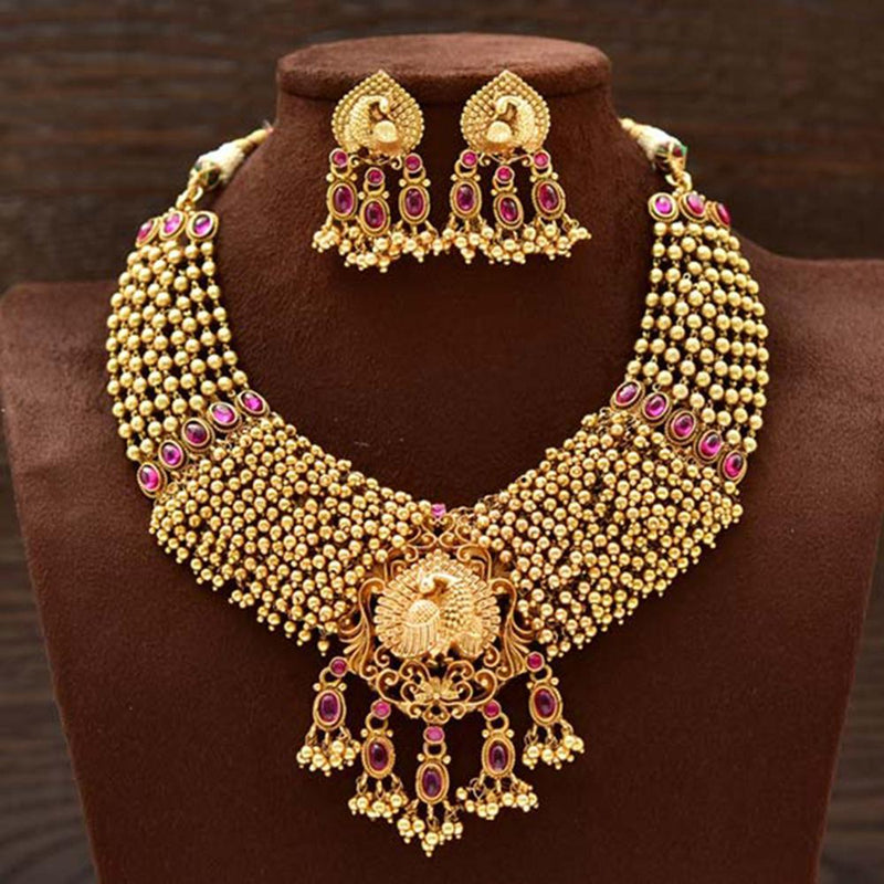 Varso Ruby Gold Polish Brass Alloy Ruby  Fitting Adjustable Thread Necklace Set - 2030173F