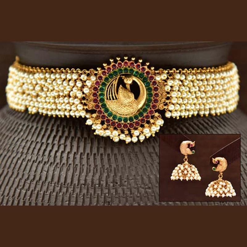 Varso Kempu & Green Stone Gold Polish Brass Alloy Pearl  Fitting Adjustable Thread Necklace Set - 2030384
