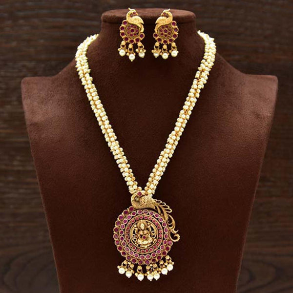 Varso Ruby Gold Polish Brass Alloy Pearl Fitting Adjustalble Chain Necklace Set - 2051321