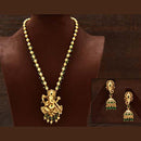 Varso Green Color Gold Polish Brass Alloy Ruby & Ball Fitting Adjustalble Chain Necklace Set - 2051591