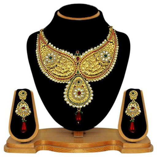 Kriaa Gold Plated Austrian Stone Necklace Set