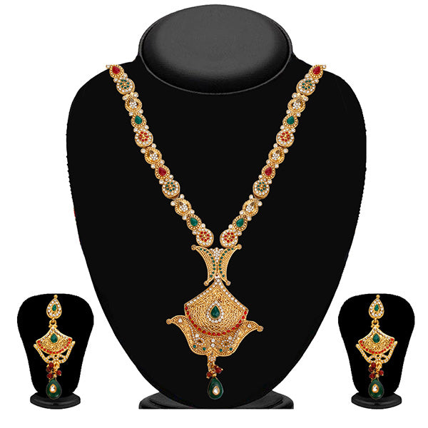 Kriaa Maroon And Green Austrian Stone Necklace Set