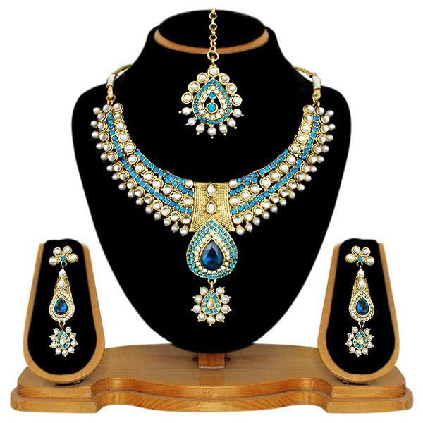 Kriaa Blue Stone Necklace Set With Maang Tikka - 2100104 - ES