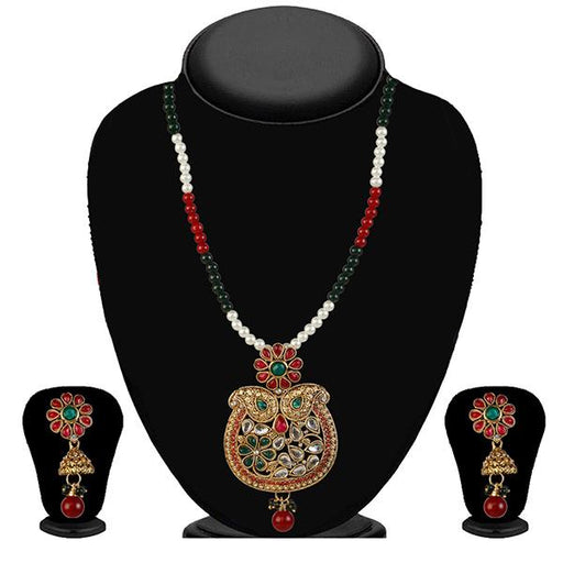 Kriaa Maroon And Green Stone Necklace Set - 2100107 - ES