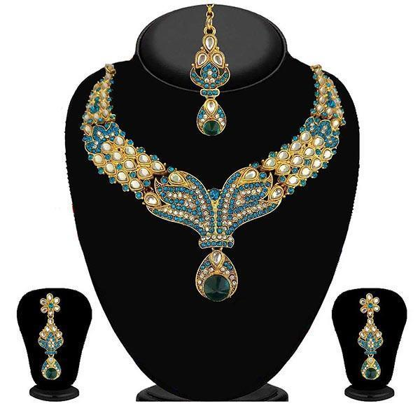 Kriaa Blue Stone Necklace Set With Maang Tikka-2100209-WN