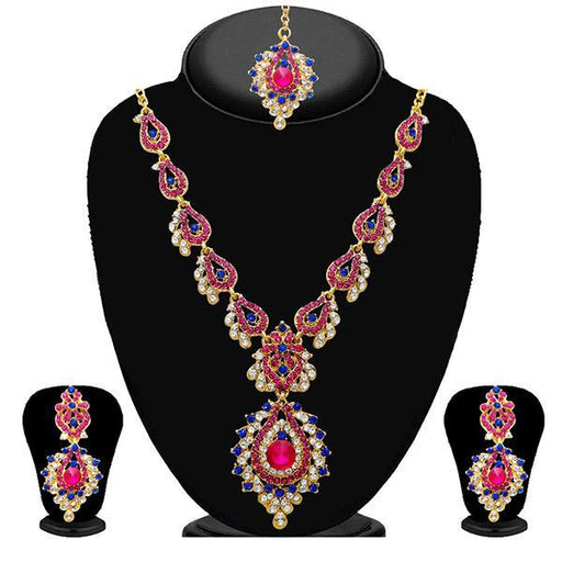 Kriaa Pink Stone Necklace Set With Maang Tikka - 2100210 - ES