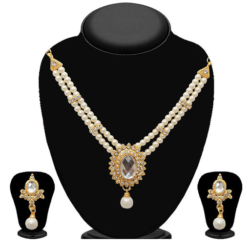 Kriaa Gold Plated White Austrian Stone Pearl Necklace Set