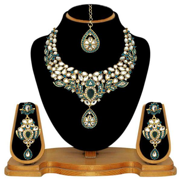 Kriaa Blue Stone Necklace Set With Maang Tikka - 2100304 - ES