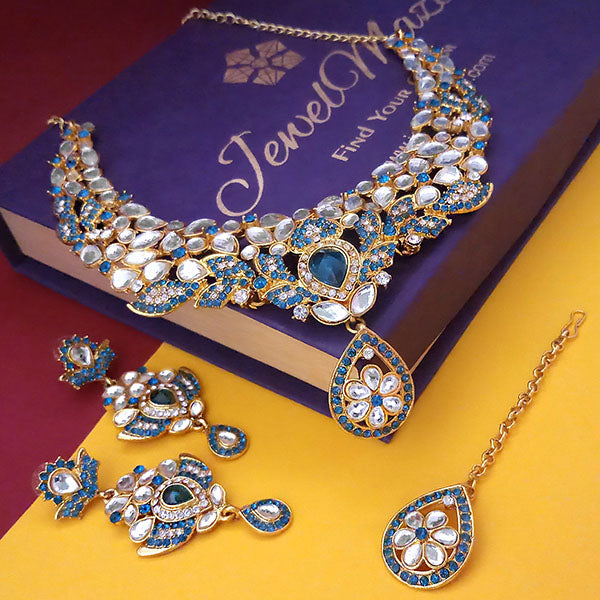 Kriaa Blue Stone Necklace Set With Maang Tikka - 2100304