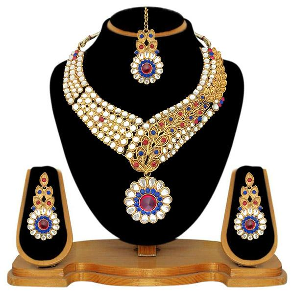 Kriaa Pink Stone Necklace Set With Maang Tikka - 2100306 - ES