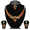 Kriaa Orange Stone Necklace Set With Maang Tikka - 2100403 - ES