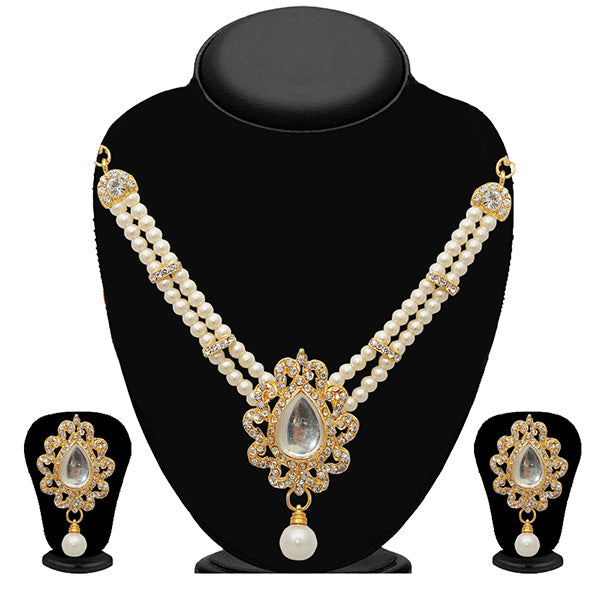 Kriaa White Austrian Stone Gold Plated Pearl Necklace Set