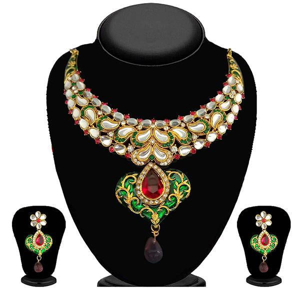 Kriaa Pink And Green Stone Kundan Necklace Set - 2100502-CL