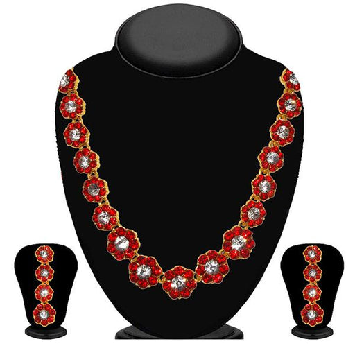 Kriaa Red Austrian Stone Necklace Set - 2100505 - ES