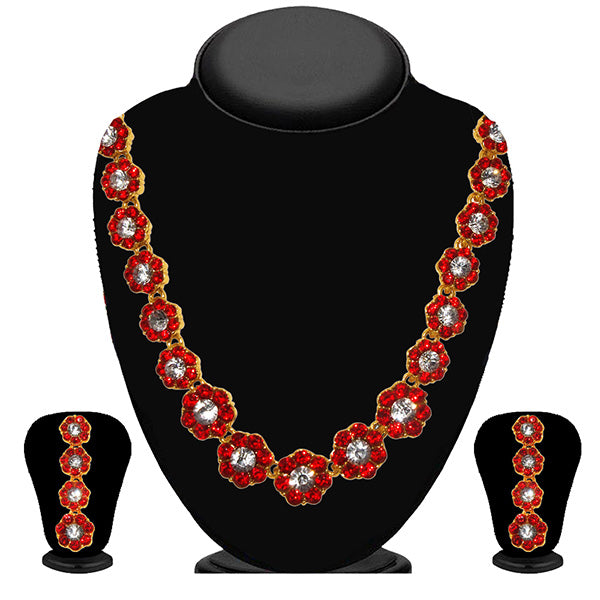 Kriaa Red Austrian Stone Necklace Set
