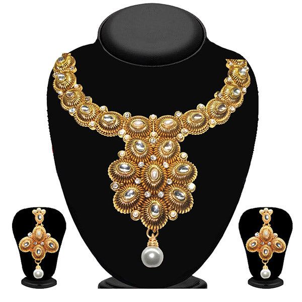 Kriaa White Stone And Kundan Necklace Set