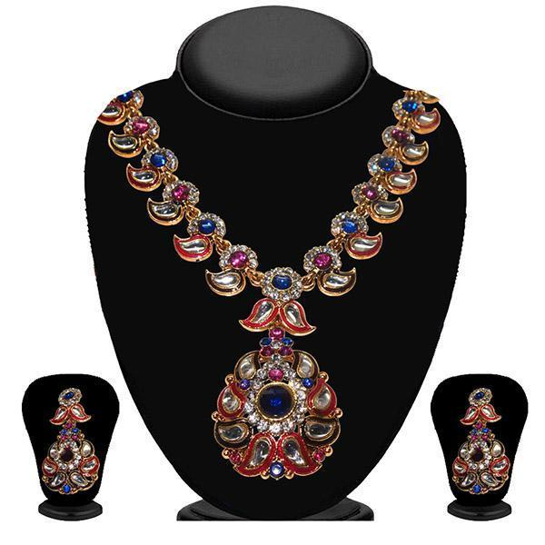 Kriaa Pink And Blue Stone And Kundan Necklace Set - 2100604 - ES