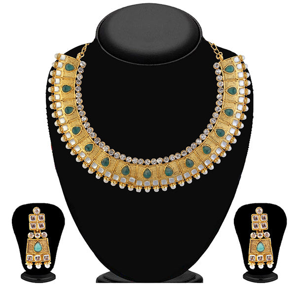 Kriaa Green Stone And Kundan Necklace Set