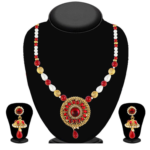 Kriaa Red Kundan And Pearl Necklace Set
