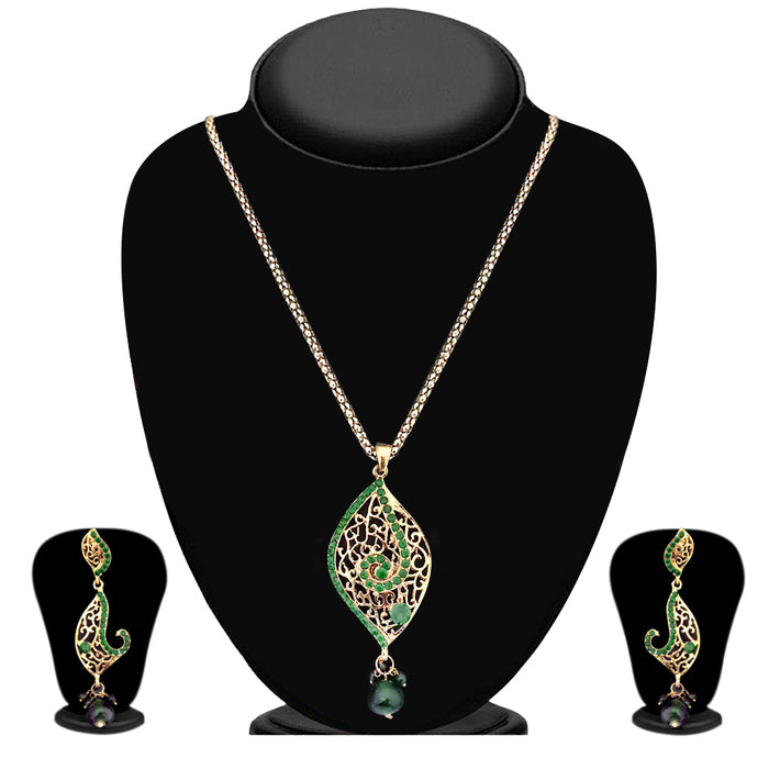 Kriaa Green Austrian Stone Gold Plated Pendants Set  - 2100805