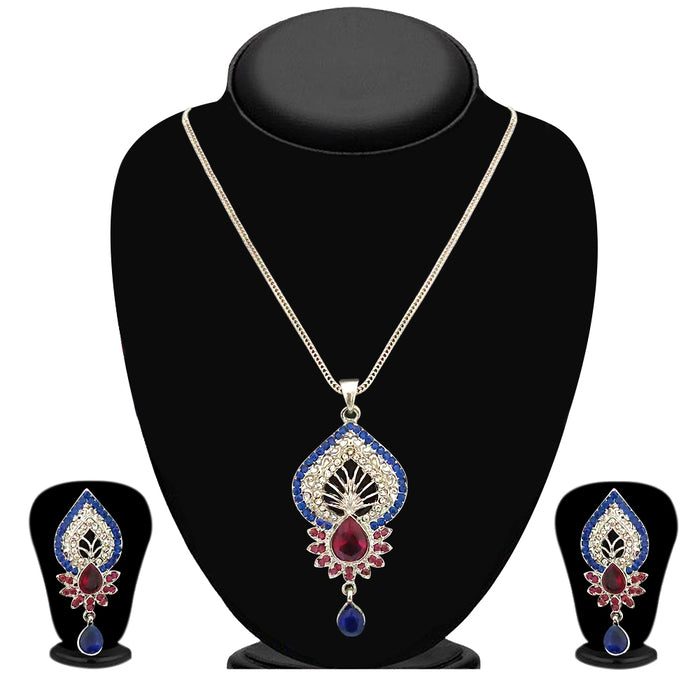 Kriaa Blue And Pink Austrian Stone Pendant Set - 2100806 - PS