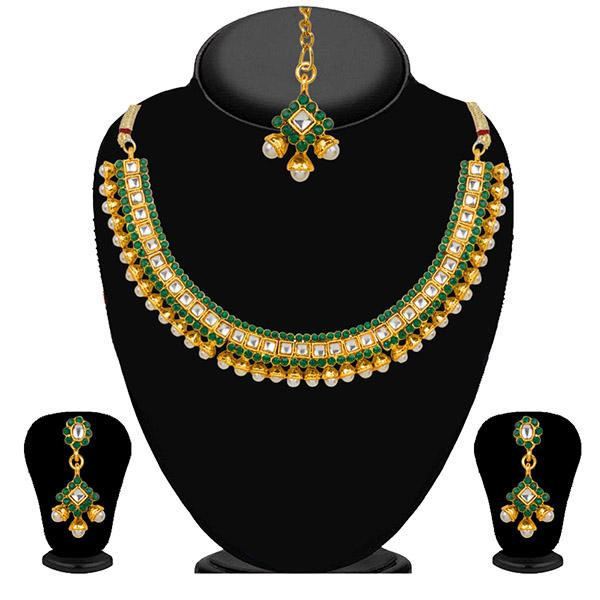 Kriaa Green Stone Necklace Set With Maang Tikka - 2100902-CL