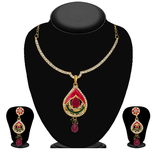 Kriaa Pink & Green Meenakari Stone Necklace Set