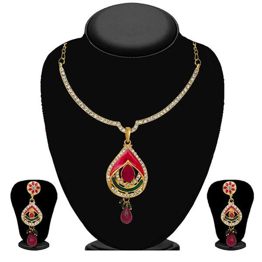 Kriaa Pink & Green Meenakari Stone Necklace Set - 2100905 - ES
