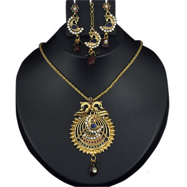 Kriaa Austrian Stone Peacock Necklace Set With Mang Tikka