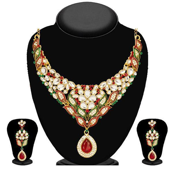 Kriaa Maroon Stone Necklace Set With Maang Tikka-2101002-WN