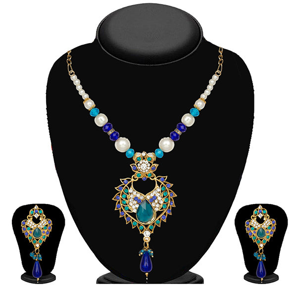 Kriaa Green And Blue Stone Necklace Set