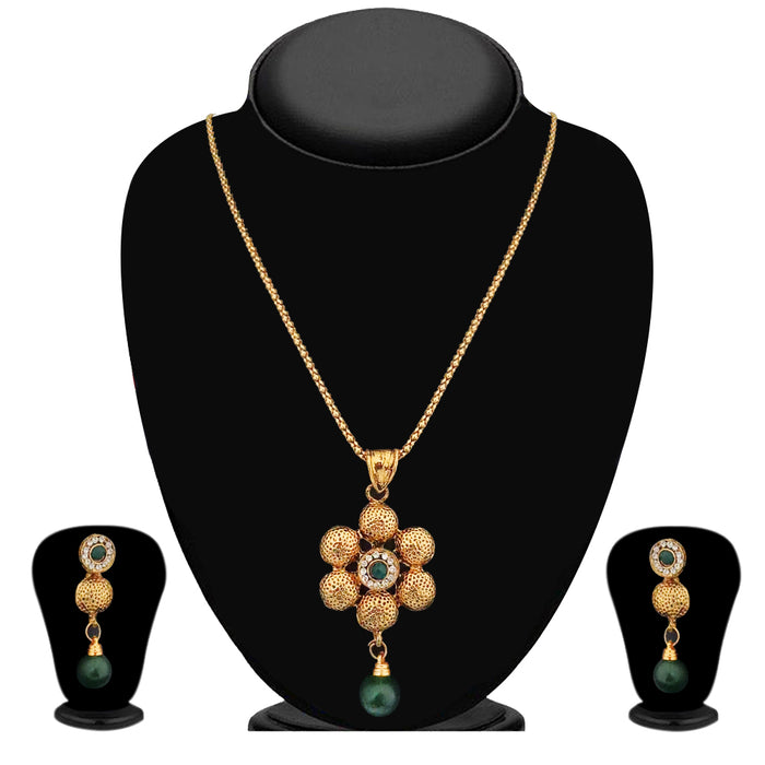 Kriaa Gold Plated Green Austrian Stone Pendant Set  - 2101104