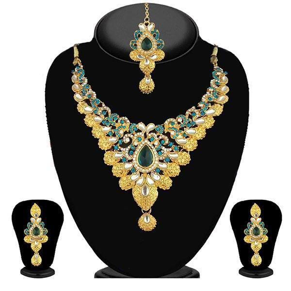 Kriaa Blue Stone Necklace Set With Maang Tikka - 2101201 - ES