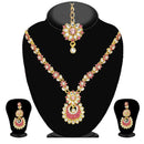 Kriaa Pink Stone Necklace Set With Maang Tikka - 2101204 - ES