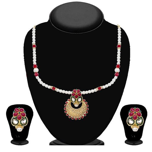 Kriaa Maroon Pota Stone And Pearl Necklace Set - 2101205 - ES