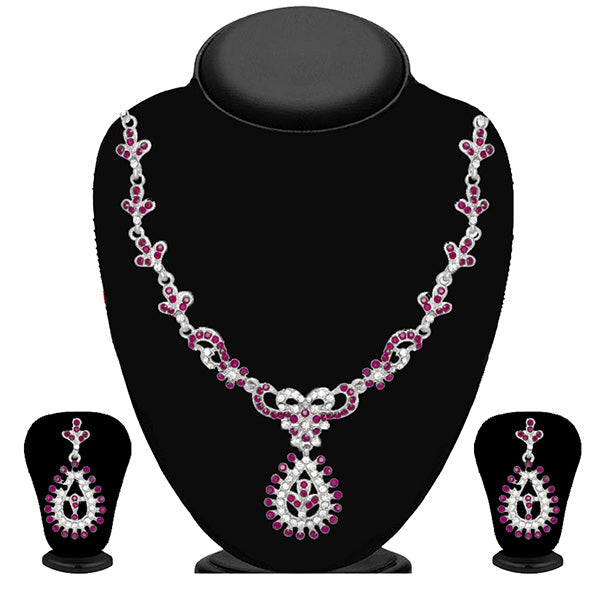 Kriaa Purple And White Stone Necklace Set